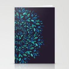 Blue Leaves Mandala Stationery Cards