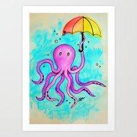 Octopus and Umbrella - watercolor Art Print