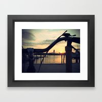 2 wheels to sunset Framed Art Print