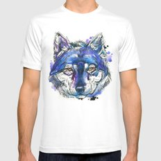 Indigo Wolf Mens Fitted Tee White SMALL