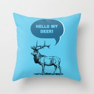 Hello My Deer! Throw Pillow