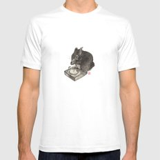 DJ Squirrel SMALL White Mens Fitted Tee