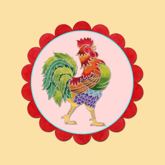 Happy Rainbow Rooster Art Print