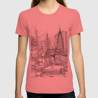 New York! B&W Womens Fitted Tee Pomegranate SMALL