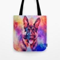 Jazzy German Shepherd Colorful Dog Art by Jai Johnson Tote Bag