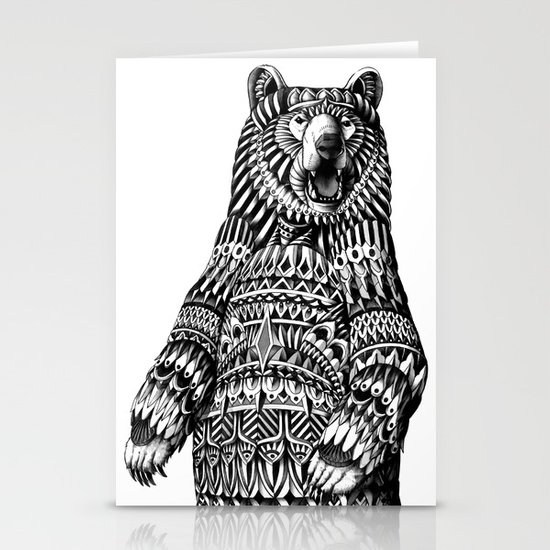 Ornate Grizzly Bear Stationery Card