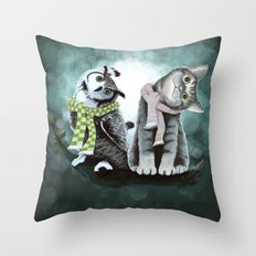 Cat and Owl Throw Pillow