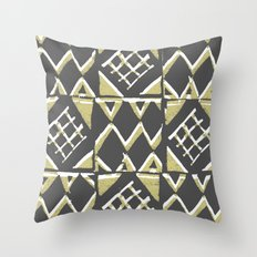 Grey and Beige Pattern Print Throw Pillow