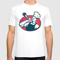Chef Cook Baker Blowing … Mens Fitted Tee White SMALL