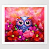 Owl In Poppy Field Art Print