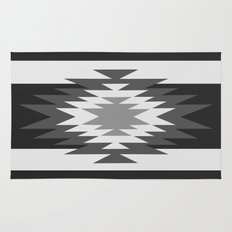 Aztec - black and white Rug