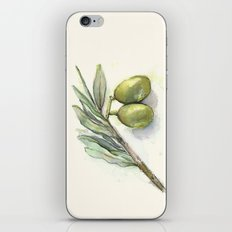 Olive Branch | Green Olives | Watercolor Illustration iPhone & iPod Skin