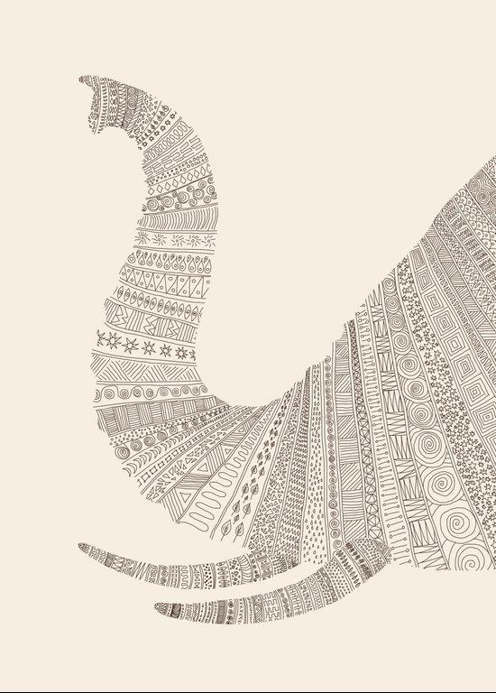 Elephant (On Beige) Canvas Print