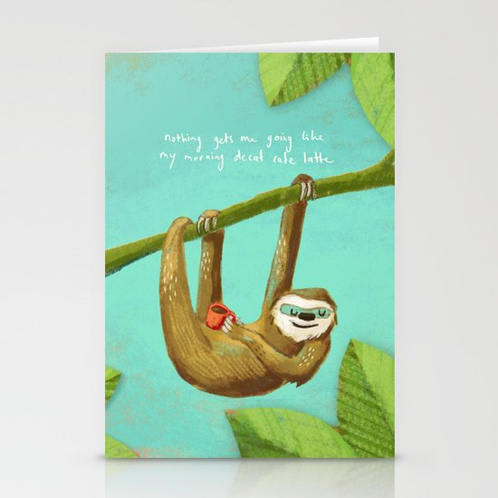 Nothing gets me going like my morning caffe latte Stationery Card