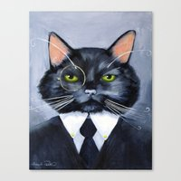 Black Cat In Suit Canvas Print