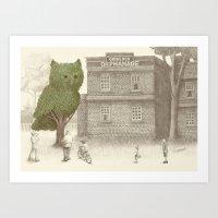 The Night Gardener - Owl Topiary  Art Print