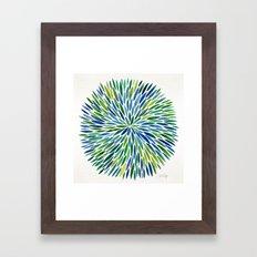 Watercolor Burst – Blue & Green Framed Art Print