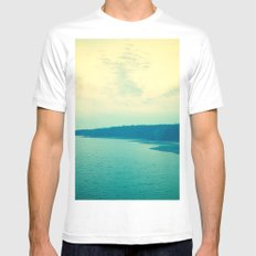 Dreams in Shades of Blue SMALL White Mens Fitted Tee