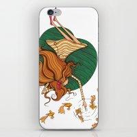 Girl and fish iPhone & iPod Skin