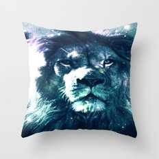 Lion Leo Teal Throw Pillow
