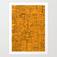 Art Print featuring Houses - Orange by _AS_