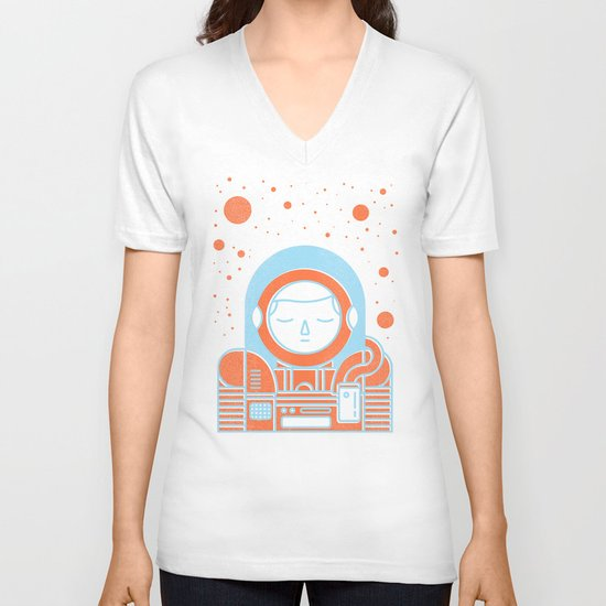 Orange Space V-neck T-shirt