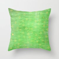 Green and yellow abstract painting Throw Pillow