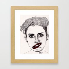 Miley with Red Lips Framed Art Print