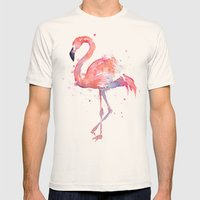 Flamingo  Mens Fitted Tee Natural SMALL