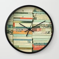Wall Clock featuring Bookworm by Cassia Beck