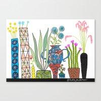 Exotic pots and plants Canvas Print