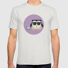 Pixel Penguin - Coffee Mens Fitted Tee Silver SMALL