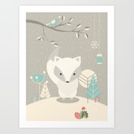 Christmas Baby Fox 07 Art Print