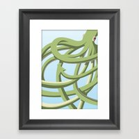 Octopus Green Framed Art Print