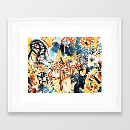 yellowredblueandblack Framed Art Print