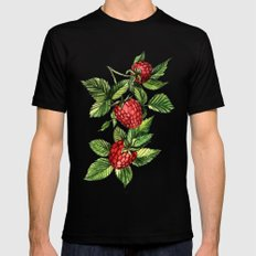 Raspberries Black Mens Fitted Tee SMALL