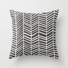 Herringbone – Black & … Throw Pillow