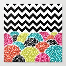 Tropical Flowers Chevron Canvas Print