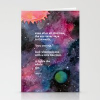 the sun never says Stationery Cards