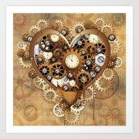 Steampunk Heart Love Art Print