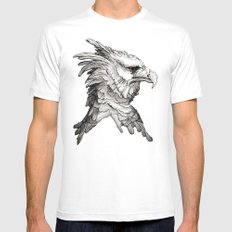 Hawk profile  White Mens Fitted Tee SMALL