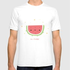 Kawaii watermelon Mens Fitted Tee White SMALL