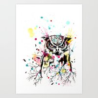 Owl Tree Watercolor Art Print