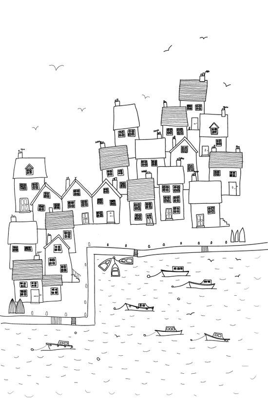 Harbour sketch Canvas Print