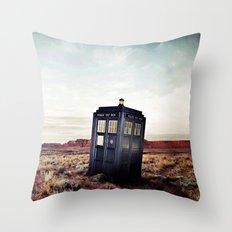 Tardis in Desert Throw Pillow