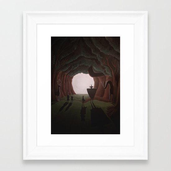 Tunnel in the end of the light. Framed Art Print