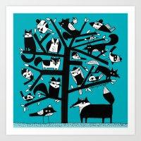ANIMAL TREE AQUA Art Print
