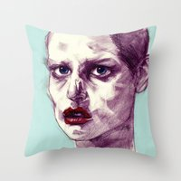 Scary Dirty Face With Re… Throw Pillow