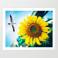 Soaring Bird Sunflower Art Print