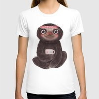 Sloth I♥yoga Womens Fitted Tee White SMALL